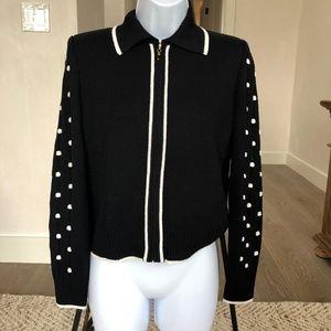 St John Black White Polka Dot Sleeve Zip Jacket